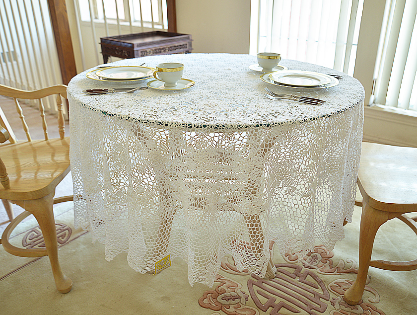 White crochet 88 inches round tablecloths
