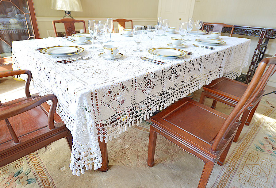 Crochet Granny Square Tablecloth