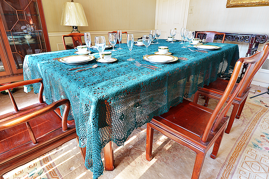 Festive Every Green color Crochet Tablecloth