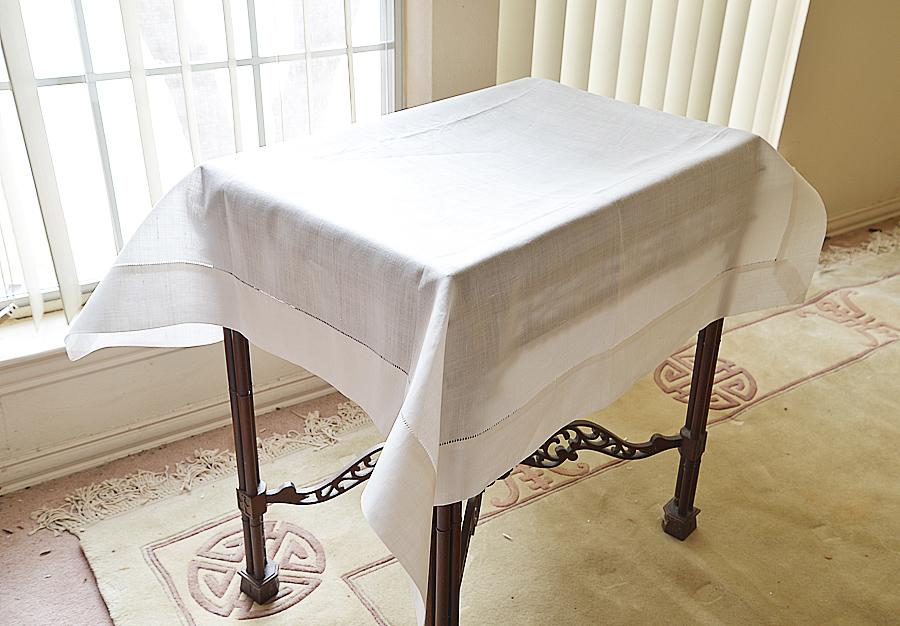 Linen Winter White Square Tablecloth.