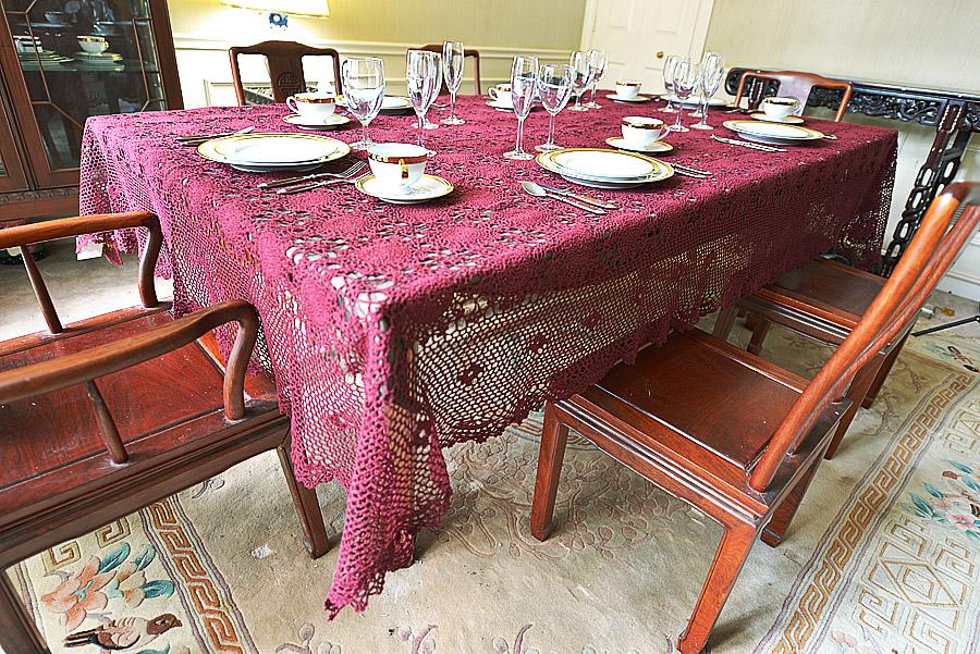 Festive Merlot colored crochet tablecloth
