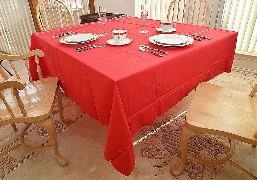 "Festive Red colored 90"" Square Tablecloth"