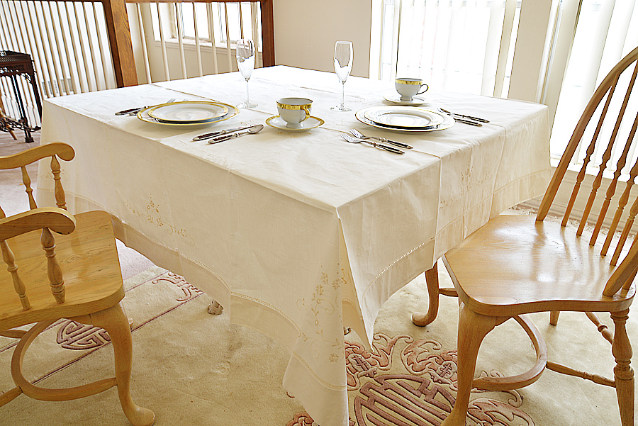 """70"""" Square tablecloth, Pearled Ivory color square tablecloth"""