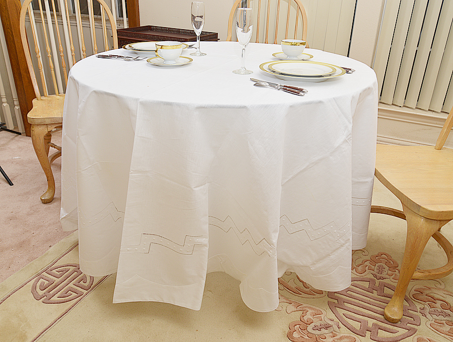 """90"""" round tablecloth."""